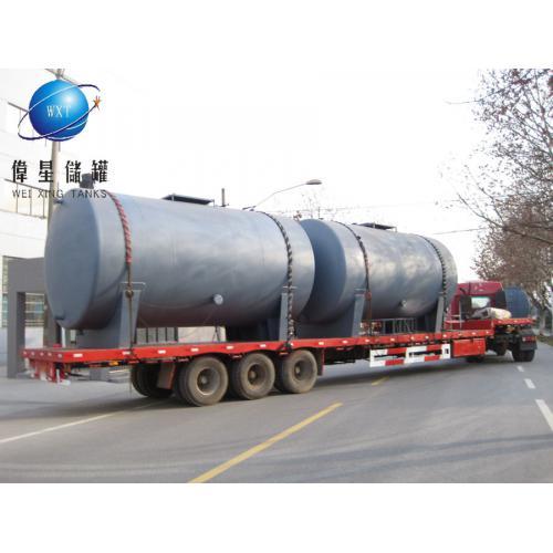 大型钢衬PP耐酸碱耐高温储槽,伟星牌150立方钢衬pp储罐
